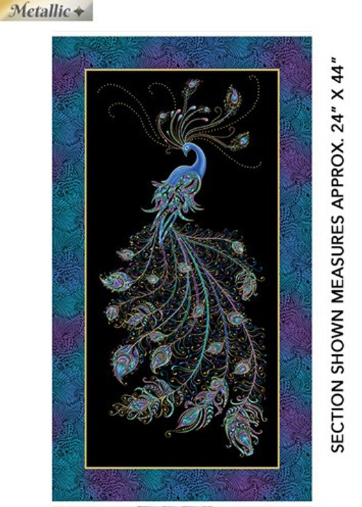 Peacock Flourish Black Cotton Quilting Fabric Panel