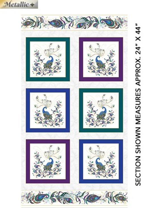 Peacock Flourish  White Metallic Highlights Cotton Quilting Fabric Box Panel