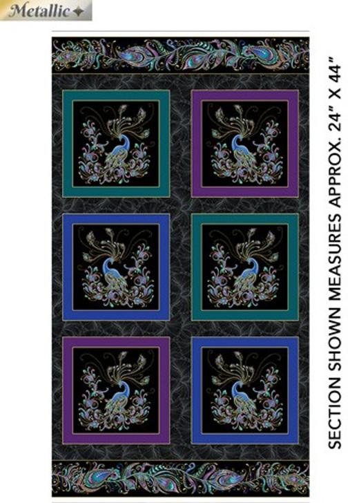 Peacock Flourish  Black Metallic Highlights Cotton Quilting Fabric Box Panel