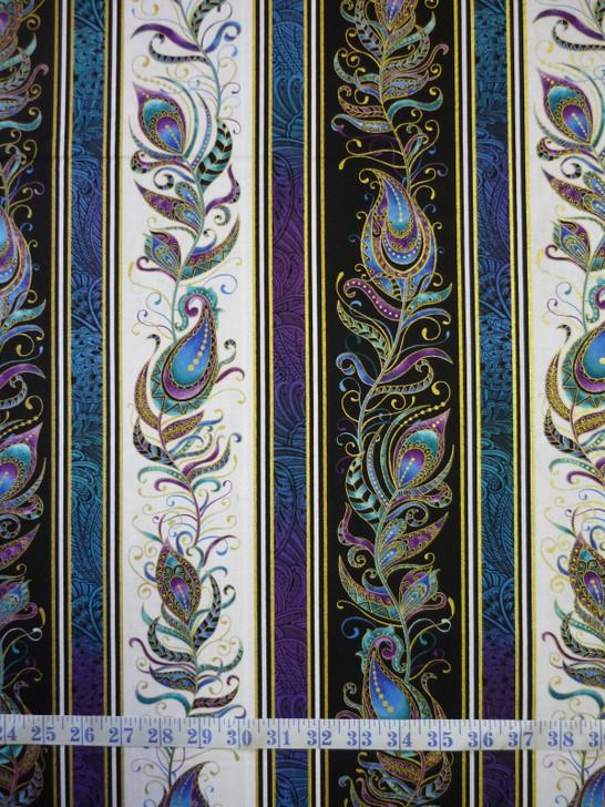 Peacock Flourish Feather Stripe Metallic Highlights Cotton Quilting Fabric