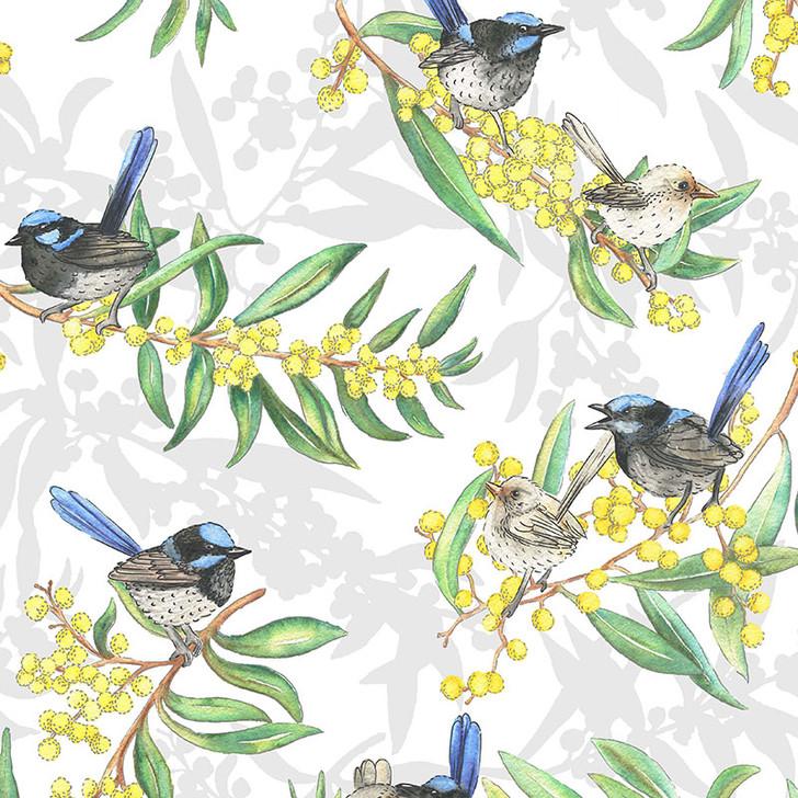 Blue Wrens Allover Australian Gumtree Friends Cotton Quilting Fabric 1/2 YARD