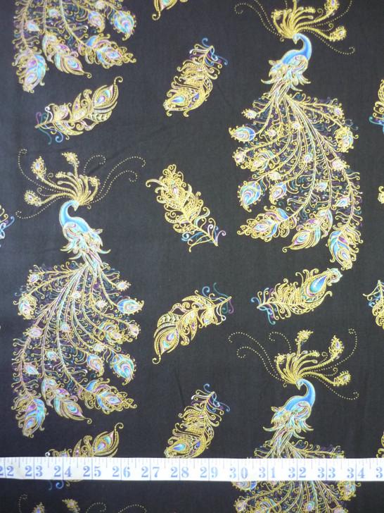 Peacock Flourish Peacocks Toss Black Metallic Highlights Cotton Quilting Fabric