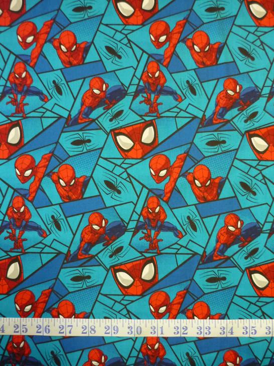 Spiderman Blocks Blue Marvel Comics Cotton Quilting Fabric