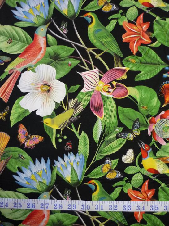 Secret Escape Birds Butterflies Floral Large Print Black Cotton Quilting Fabric