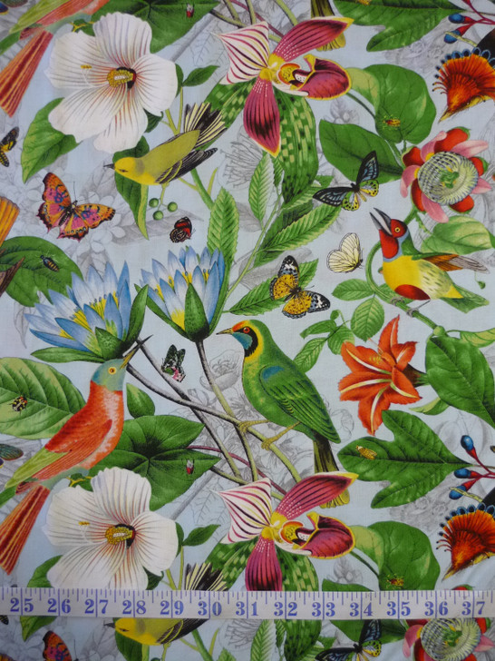 Secret Escape Birds Butterflies Floral Large Print Blue Cotton Quilting Fabric