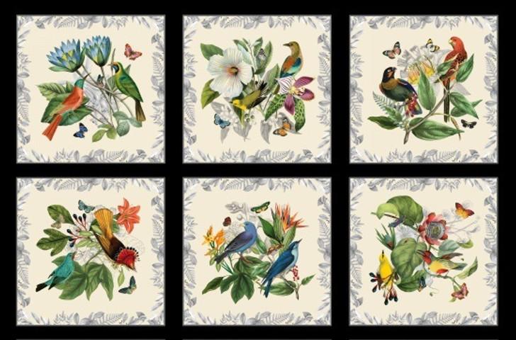Secret Escape Birds Butterflies Floral Black Cotton Quilting Fabric Panel