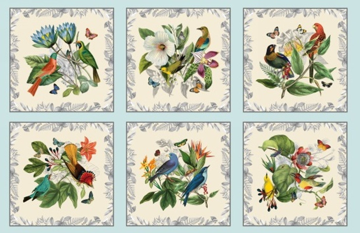 Secret Escape Birds Butterflies Floral  Blue Cotton Quilting Fabric Panel