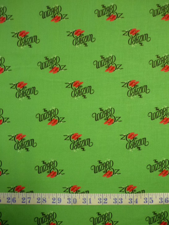 Wizard of Oz Logo Green Cotton Quilting Fabric
