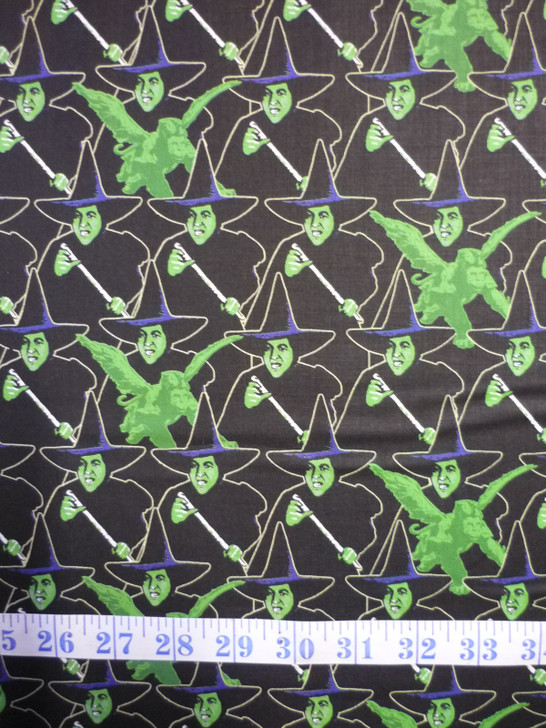 Wizard of Oz Wicked Witch Black Cotton Quilting Fabric
