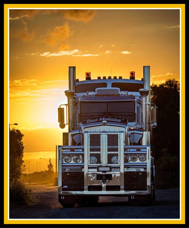 Trucks Big Rigs Bad Medicine Cotton Quilting Fabric Panel