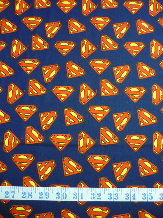 Superman Logo Navy Background Cotton Quilting Fabric