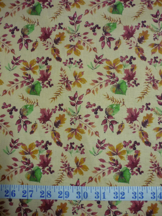 Fables Mustard Leaves Cotton Quilting Fabric 1/2 YARD