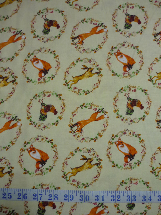 Fables Wreaths Cream Fox Rabbit Chicken Cotton Quilting Fabric