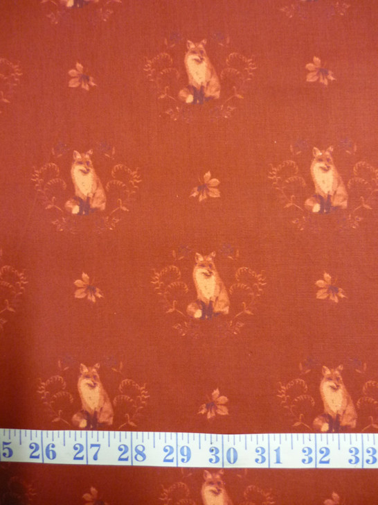 Fables Fox Damask Burgundy Cotton Quilting Fabric