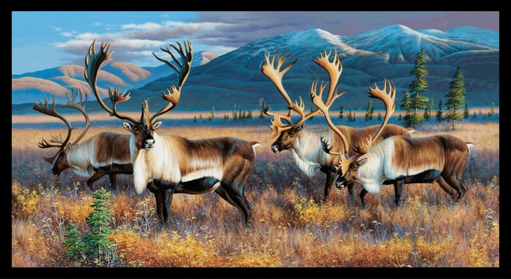 Northern Nomads Caribou Black Cotton Quilting Fabric Panel