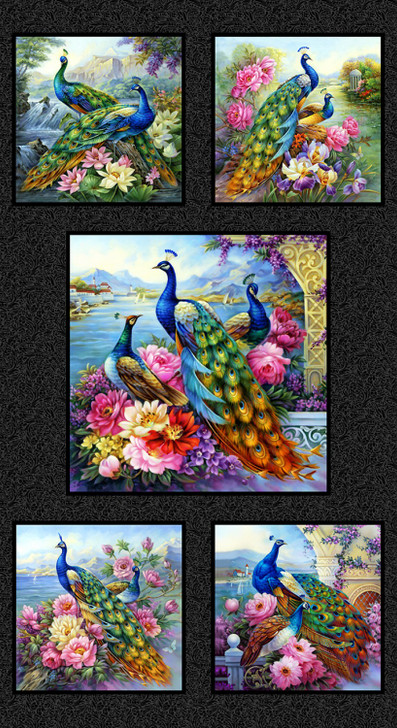 Peacock Exotica Black Cotton Quilting Fabric Panel