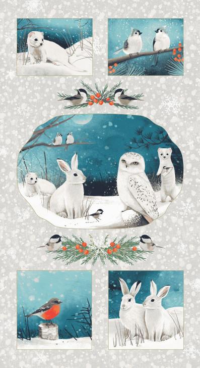 Winter Woodland Rabbits Owls Bears Birds Cotton Quilting Fabric Panel