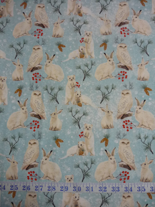 Winter Woodland Animal Toss Blue Rabbits Owls Cotton Quilting Fabric