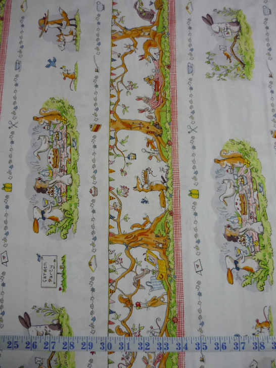 Garden Party Animal Scene Pictorial Stripe Cotton Quilting Fabric