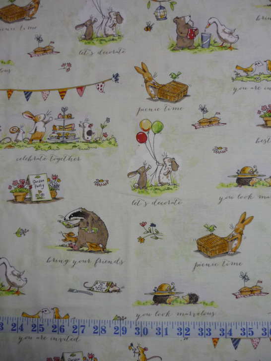Garden Party Animal Scene Toile Light Olive Cotton Quilting Fabric