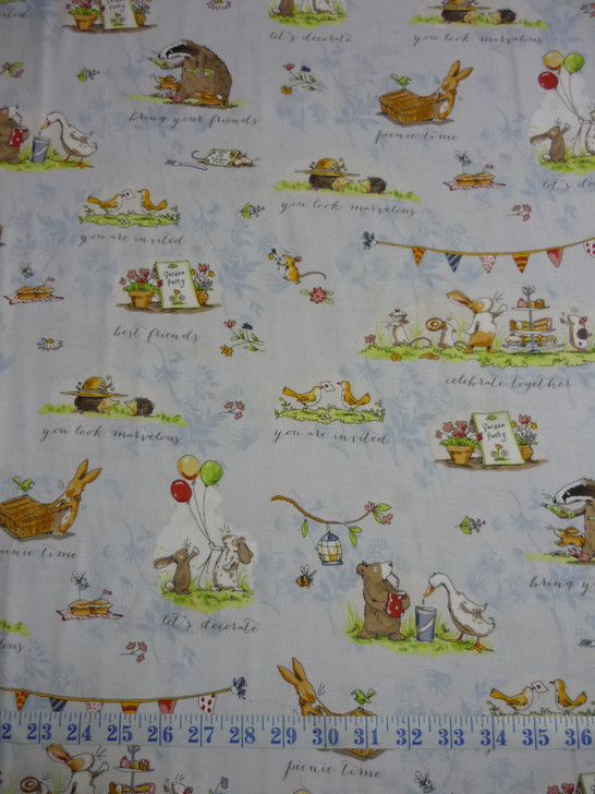 Garden Party Animal Scene Toile Light Blue Cotton Quilting Fabric