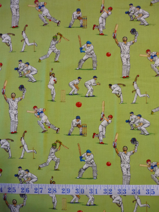 All Rounder Cricket Players Green Cotton Quilting Fabric
