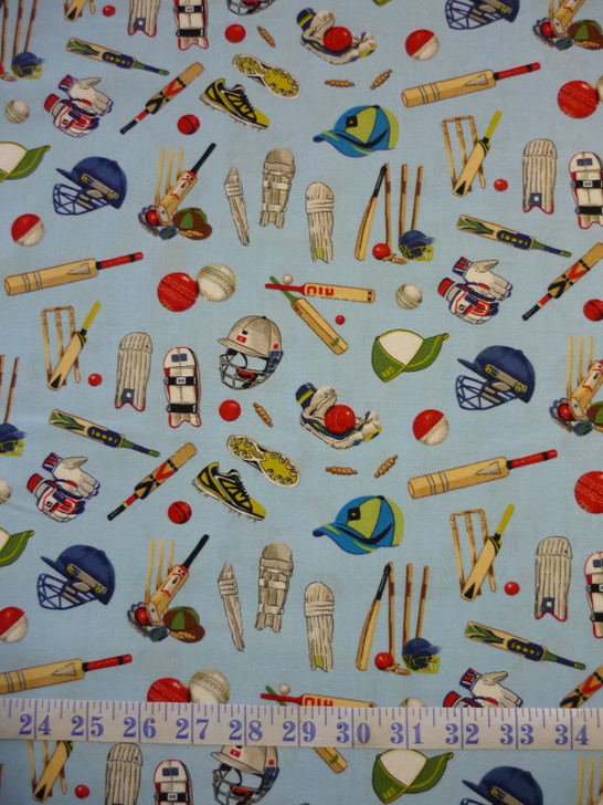 All Rounder Cricket Equipment Blue Cotton Quilting Fabric