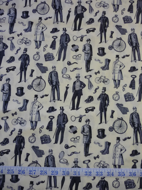 Victorian Vintage Men Cotton Quilting Fabric