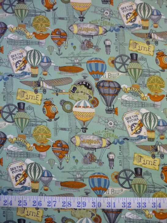 Victorian Vintage Flight Airships Balloons Cotton Quilting Fabric