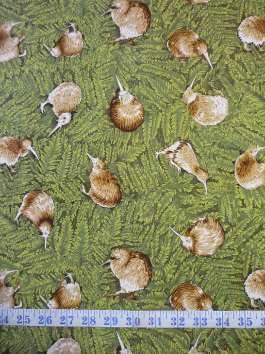 Kiwiana NZ Te Taonga Kiwi Bird Cotton Quilting Fabric