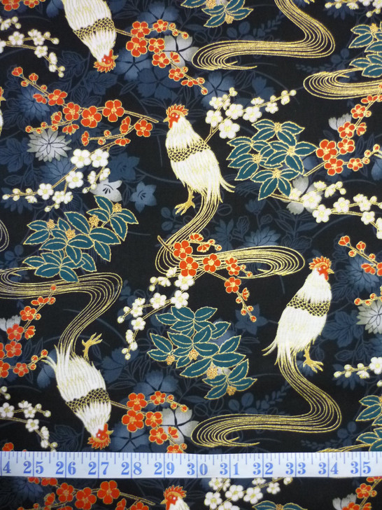 Hirodai Roosters Chickens Asian Japanese Metallic Highlights Cotton Quilting Fabric