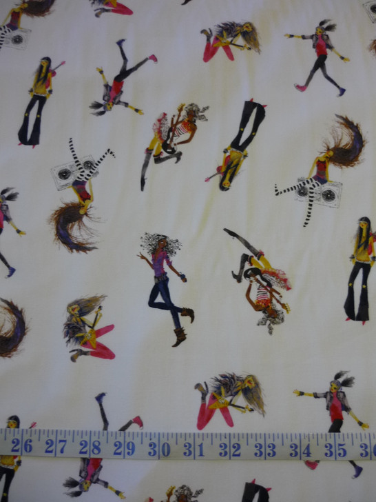 Groovy Girls Music Hippy Girls Tossed White Cotton Quilting Fabric