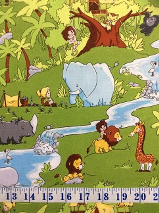 Tarzanimals Main Green Jungle Animals Tarzan Jane Cotton Quilting Fabric 1/2 YARD