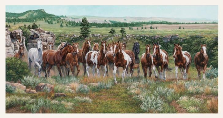Wild and Free Horses Scenic Cream Cotton Quilting Fabric Panel
