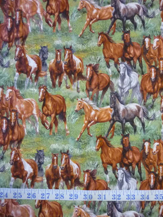 Wild and Free Horses Scenic Green Cotton Quilting Fabric