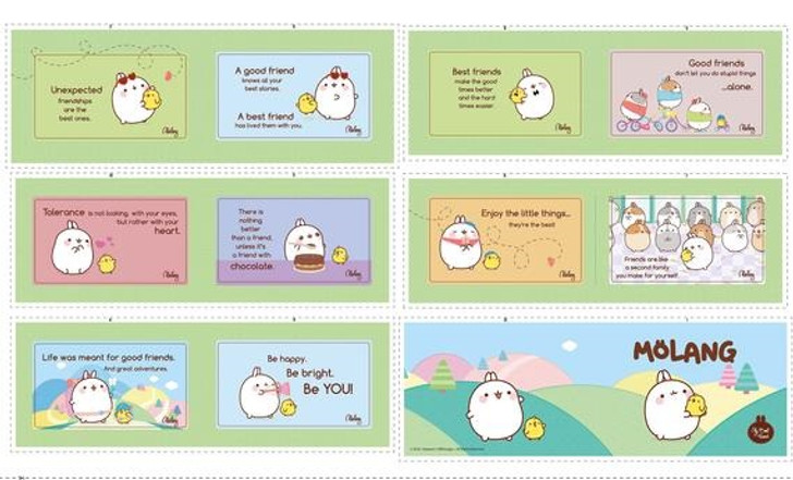 Molang Cotton Quilting Fabric Book Panel