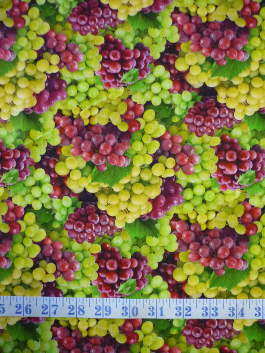 Grapes Red and Green Food Festival Cotton Quilting Fabric