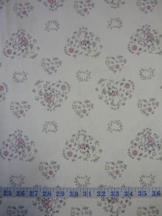 Disney Sentimental Aristocats Sweet Marie White Cotton Quilting Fabric