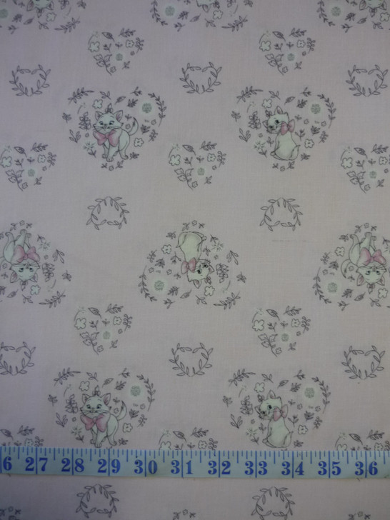 Disney Sentimental Aristocats Sweet Marie Pink Cotton Quilting Fabric