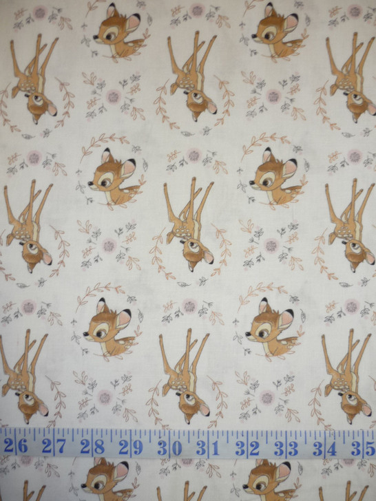 Disney Sentimental Bambi White Copper Metallic Highlights Cotton Quilting Fabric