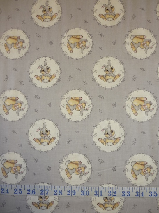 Disney Sentimental Thumper Grey Background Cotton Quilting Fabric