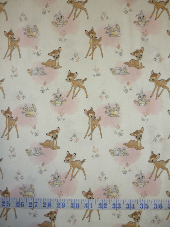Disney Sentimental Bambi and Thumper Copper Metallic Highlights Cotton Quilting Fabric