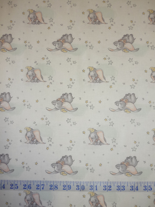 Disney Sentimental Dumbo in the Sky White Cotton Quilting Fabric