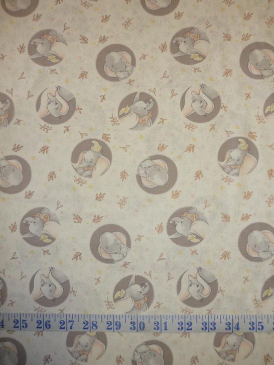 Disney Sentimental Dumbo Dots Copper Metallic Highlights Cotton Quilting Fabric