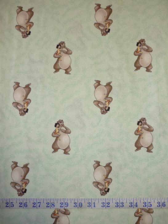 Disney Sentimental Jungle Book Baloo and Mogli Green Cotton Quilting Fabric