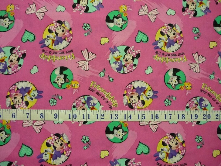 Disney Minnie Mouse and Daisy Badges Friendship Cotton Quilting Fabric
