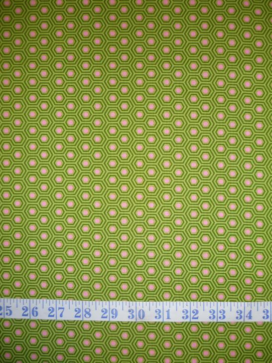 True Colours Hexy Juniper Tula Pink Cotton Quilting Fabric