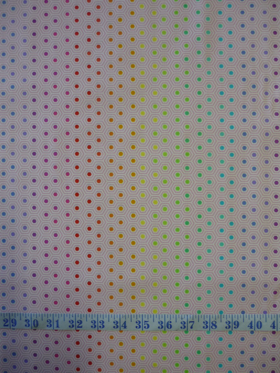 True Colours Hexy Rainbow Shell Tula Pink Cotton Quilting Fabric