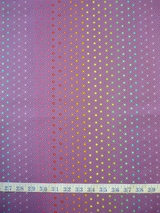 True Colours Hexy Rainbow Starling Tula Pink Cotton Quilting Fabric