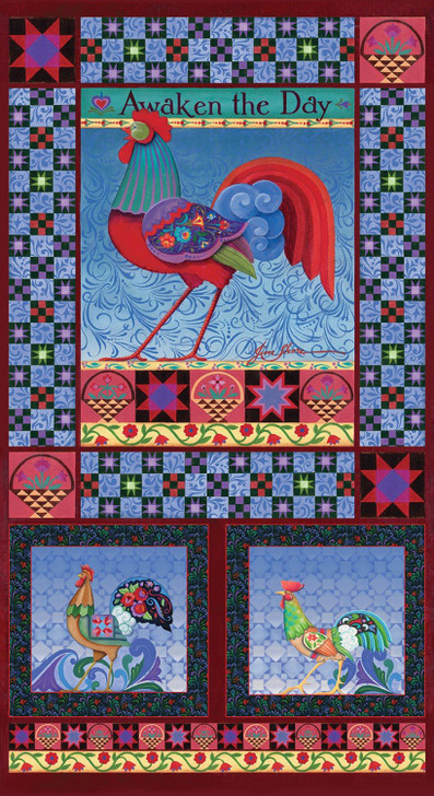 Awaken the Day Chicken Multi Multi Cotton Quilting Fabric Panel